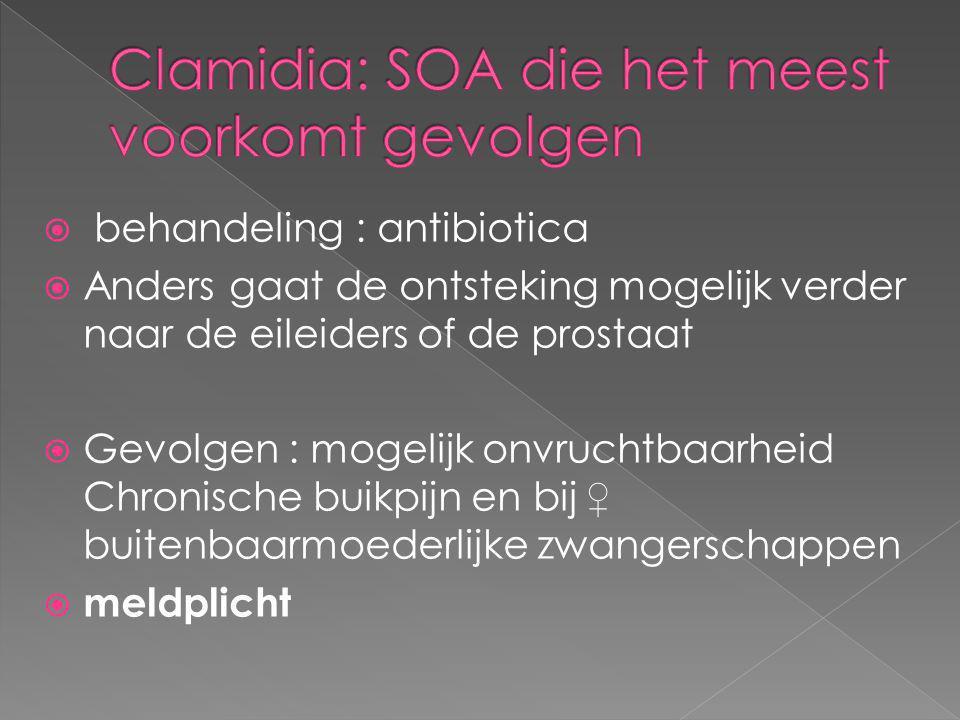 Clamidia: SOA die het meest voorkomt gevolgen