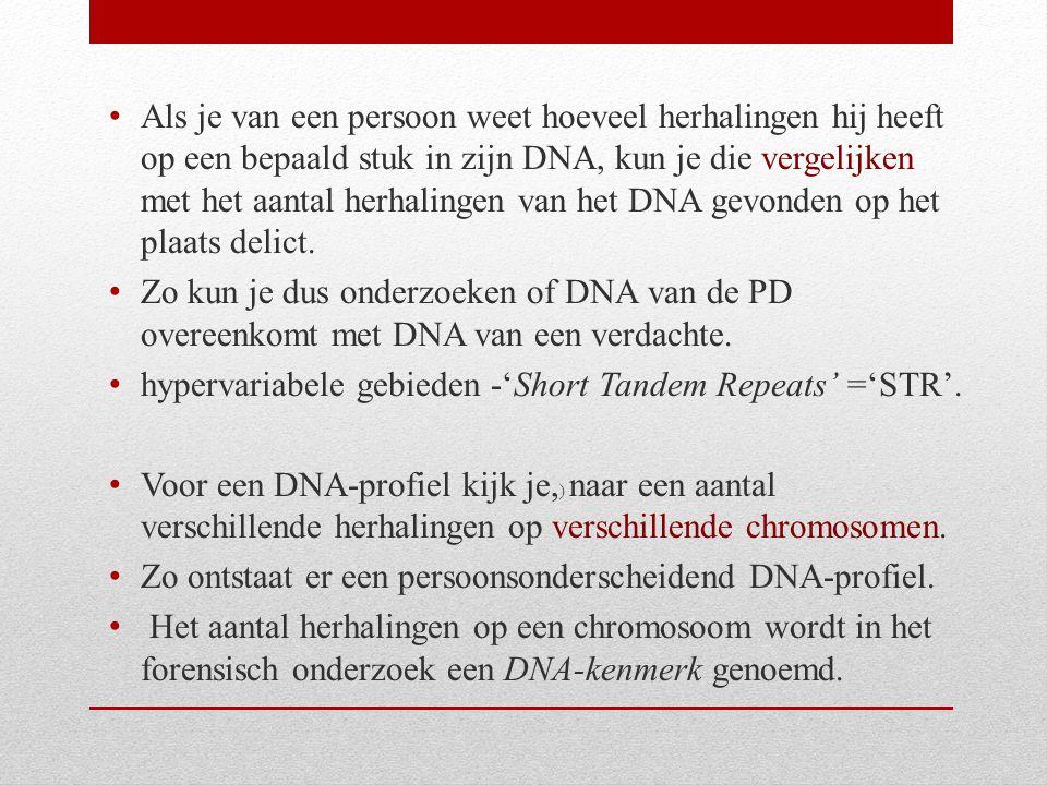Als je van een persoon weet hoeveel herhalingen hij heeft op een bepaald stuk in zijn DNA, kun je die vergelijken met het aantal herhalingen van het DNA gevonden op het plaats delict.