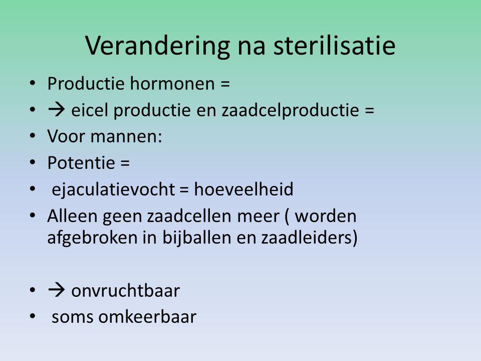 Verandering na sterilisatie