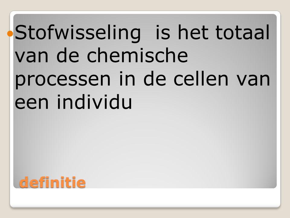 Stofwisseling is het totaal van de chemische processen in de cellen van een individu
