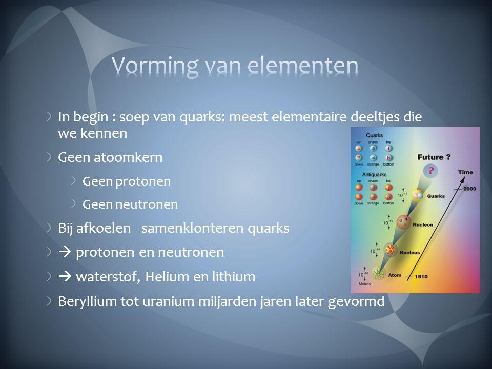 Vorming van elementen In begin : soep van quarks: meest elementaire deeltjes die we kennen. Geen atoomkern.
