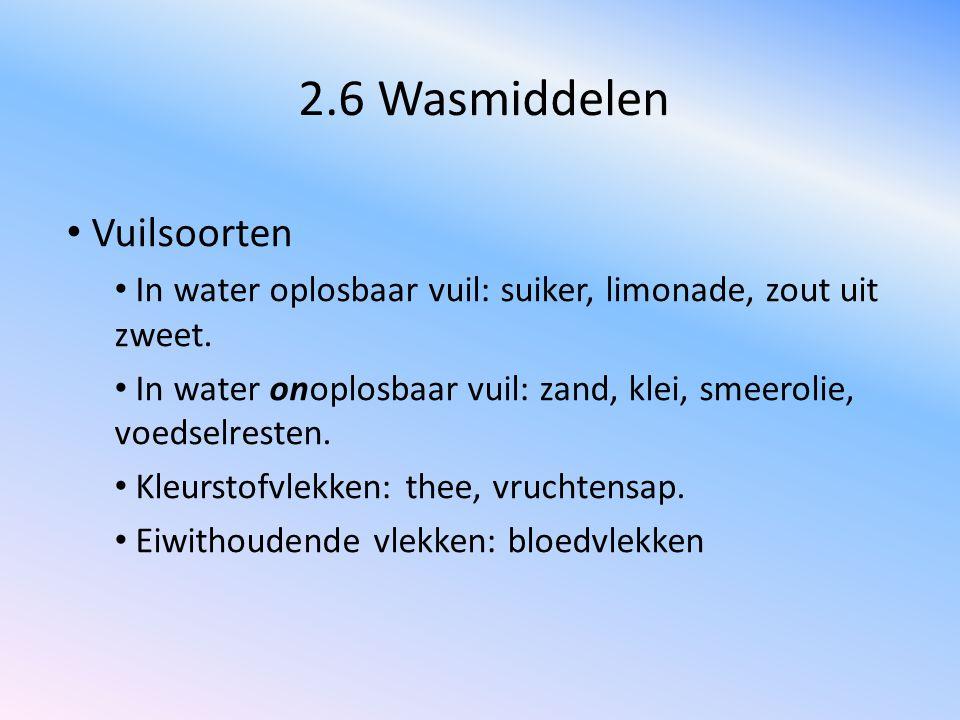 2.6 Wasmiddelen Vuilsoorten