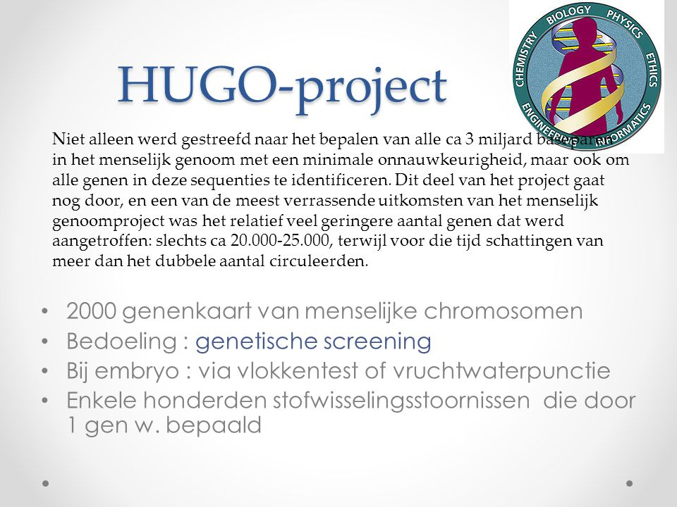 HUGO-project 2000 genenkaart van menselijke chromosomen