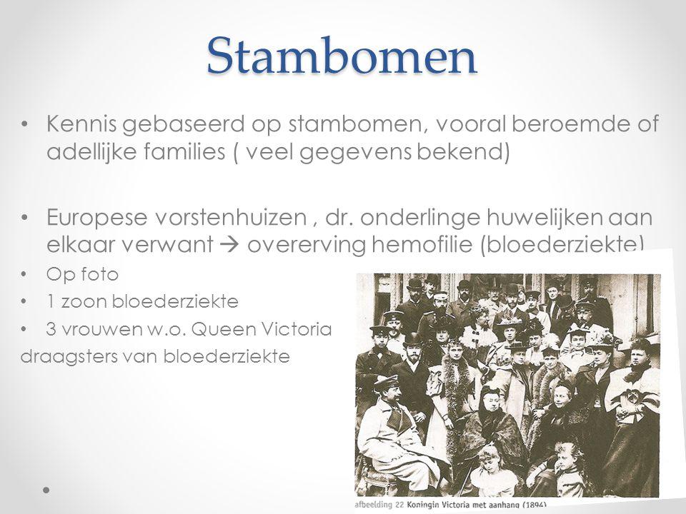 Stambomen Kennis gebaseerd op stambomen, vooral beroemde of adellijke families ( veel gegevens bekend)