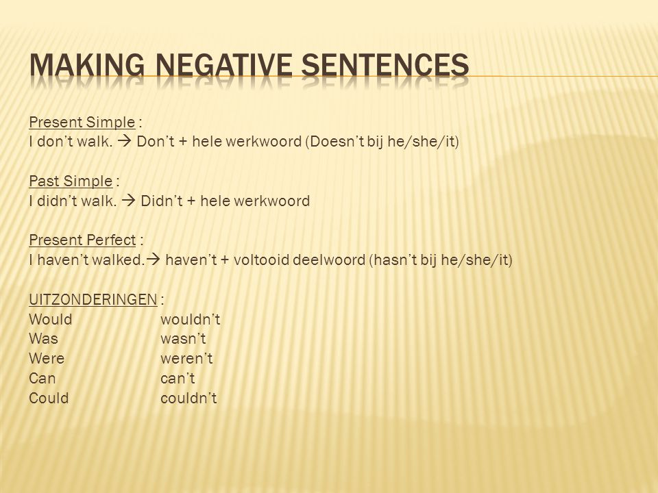 Making negative sentences