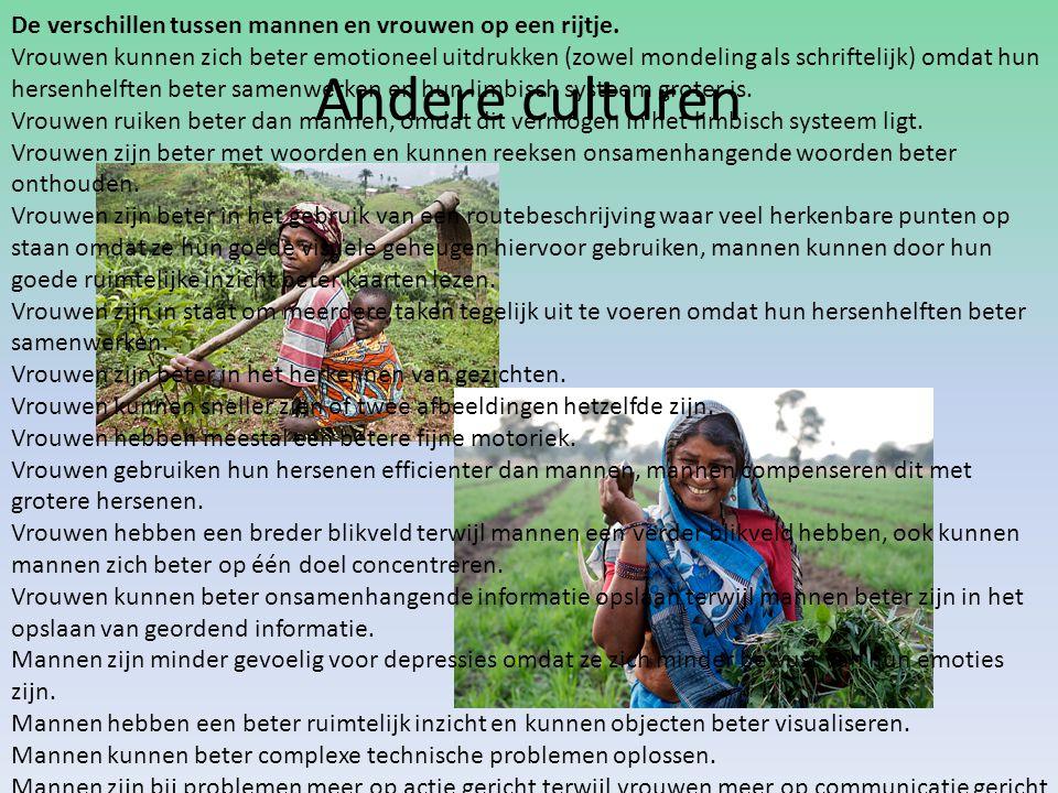 Andere culturen De verschillen tussen mannen en vrouwen op een rijtje.