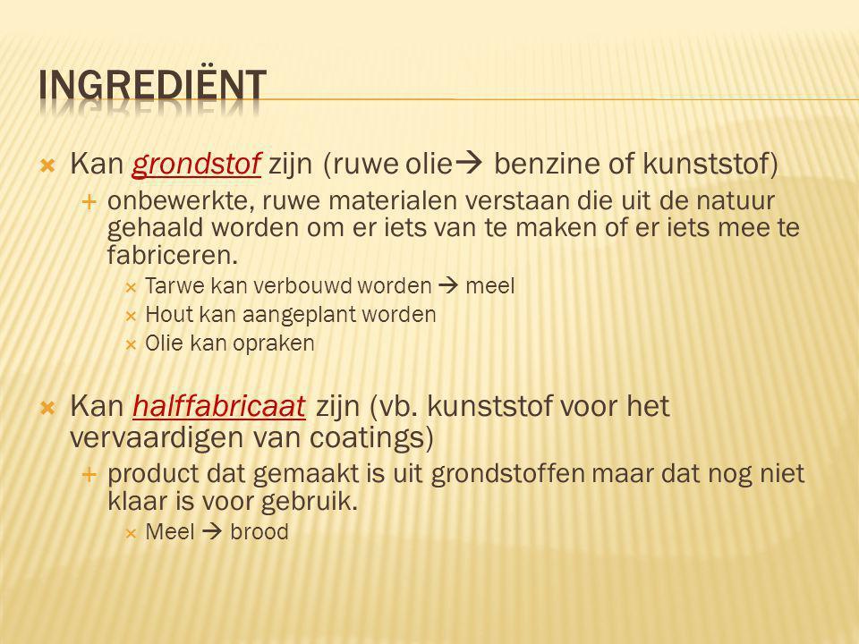 ingrediënt Kan grondstof zijn (ruwe olie benzine of kunststof)