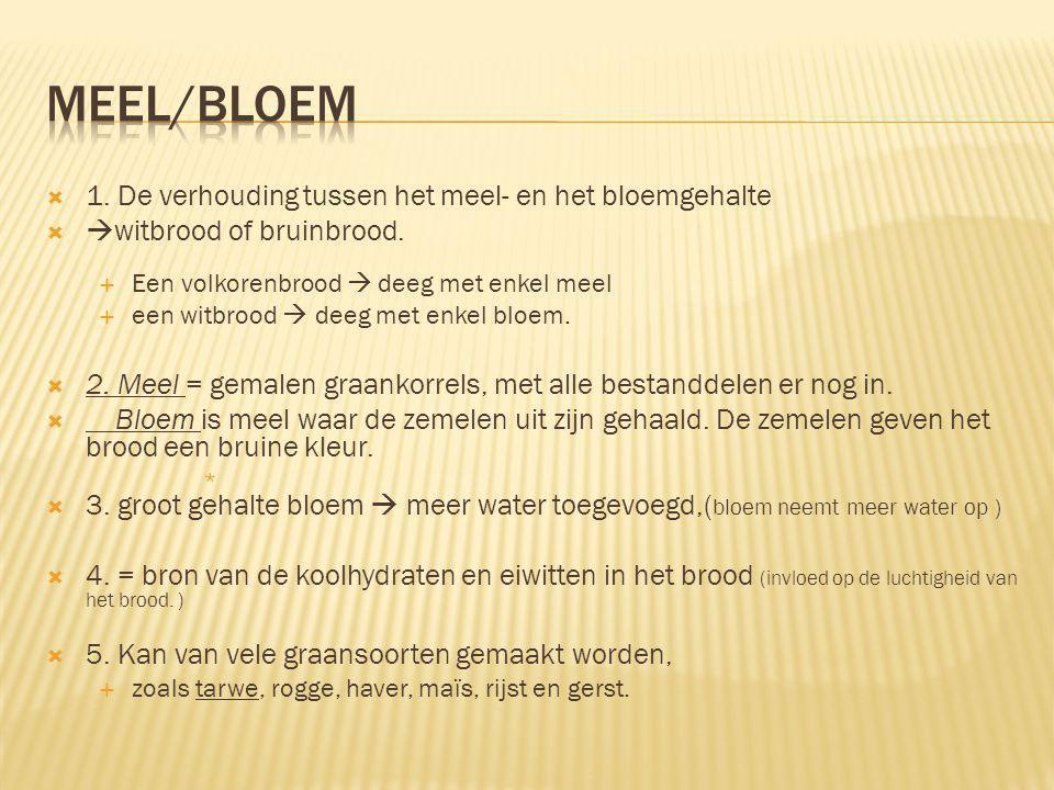Meel/bloem 1. De verhouding tussen het meel- en het bloemgehalte