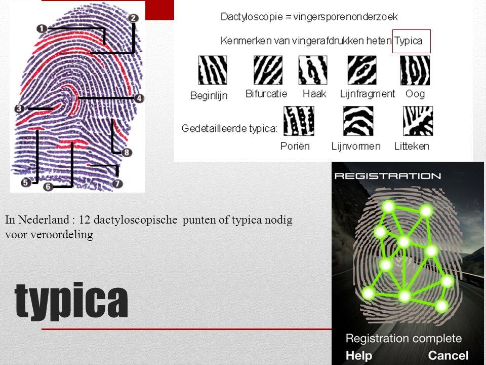 In Nederland : 12 dactyloscopische punten of typica nodig voor veroordeling