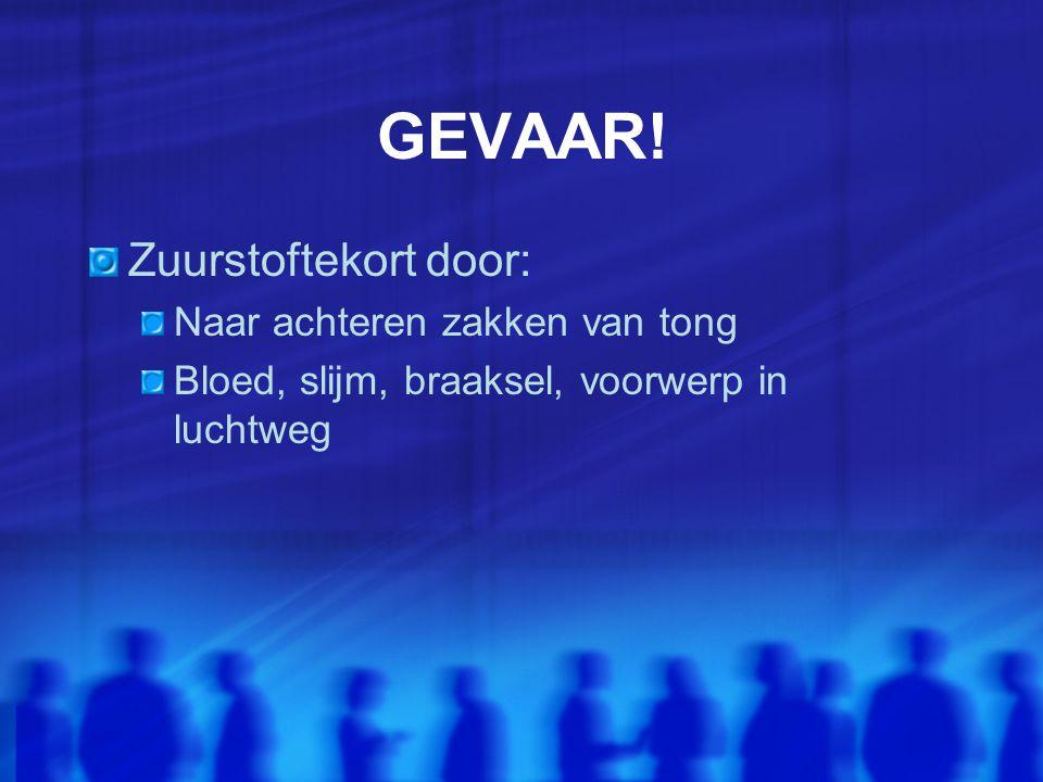 GEVAAR! Zuurstoftekort door: Naar achteren zakken van tong