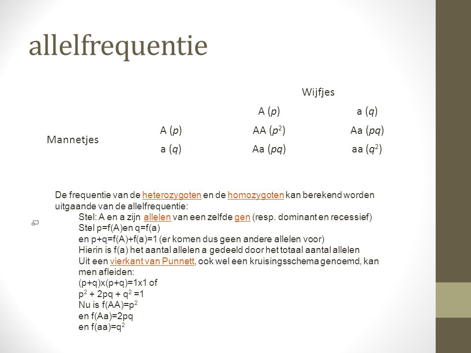 allelfrequentie Wijfjes A (p) a (q) Mannetjes AA (p2) Aa (pq) aa (q2)