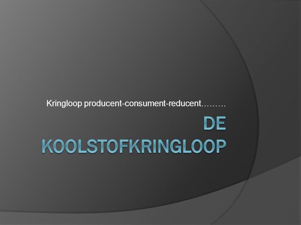Kringloop producent-consument-reducent………