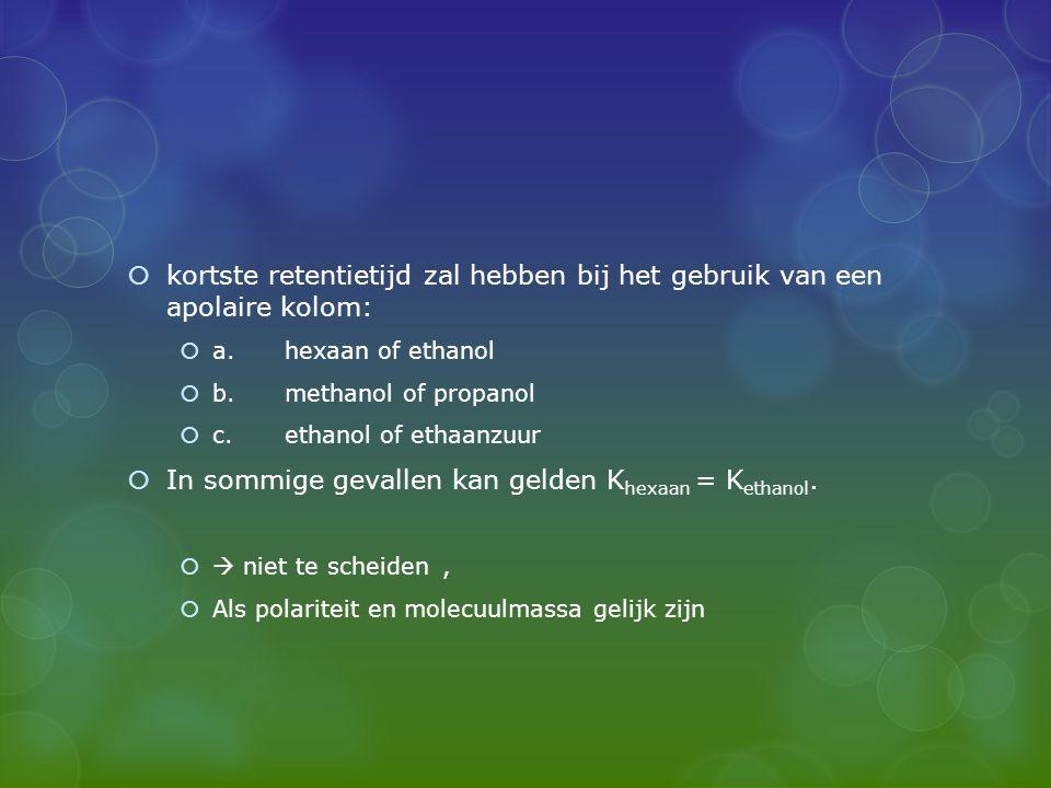 In sommige gevallen kan gelden Khexaan = Kethanol.