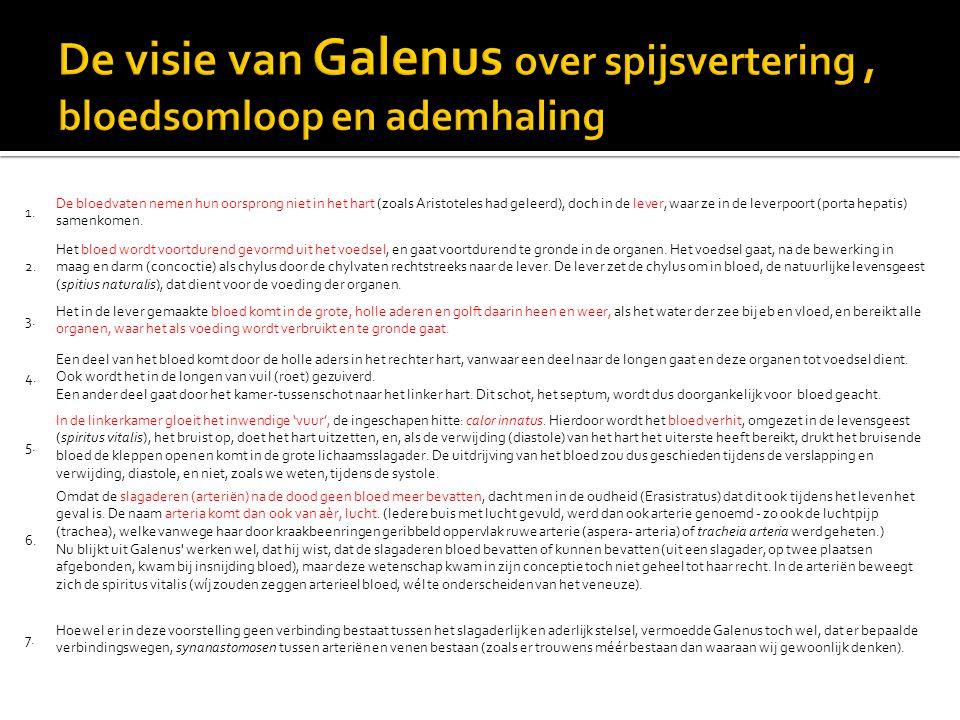 De visie van Galenus over spijsvertering , bloedsomloop en ademhaling