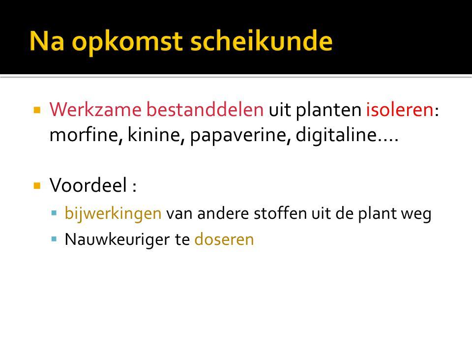 Na opkomst scheikunde Werkzame bestanddelen uit planten isoleren: morfine, kinine, papaverine, digitaline….