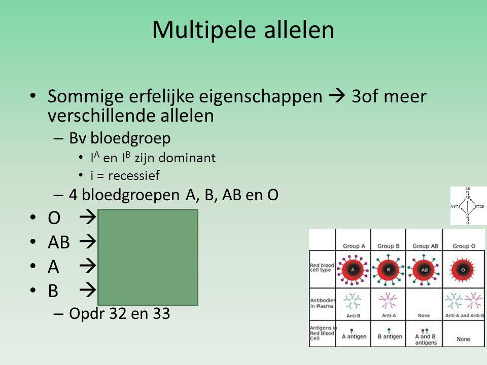 Multipele allelen Sommige erfelijke eigenschappen  3of meer verschillende allelen. Bv bloedgroep.