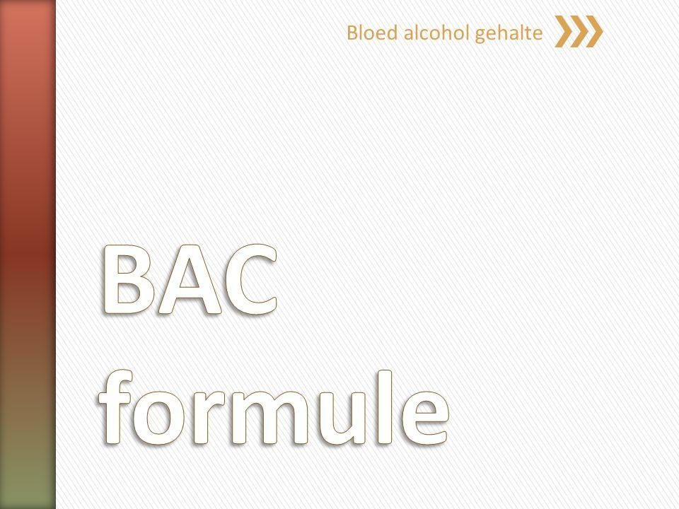 Bloed alcohol gehalte BAC formule
