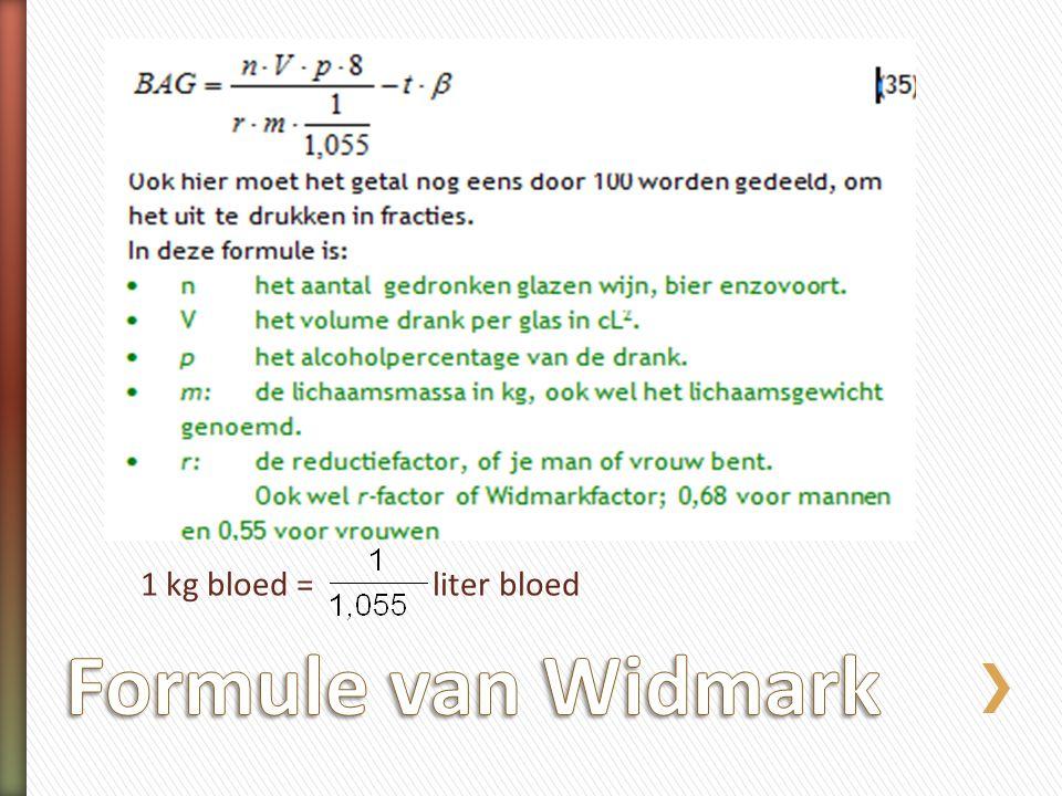 1 kg bloed = liter bloed Formule van Widmark