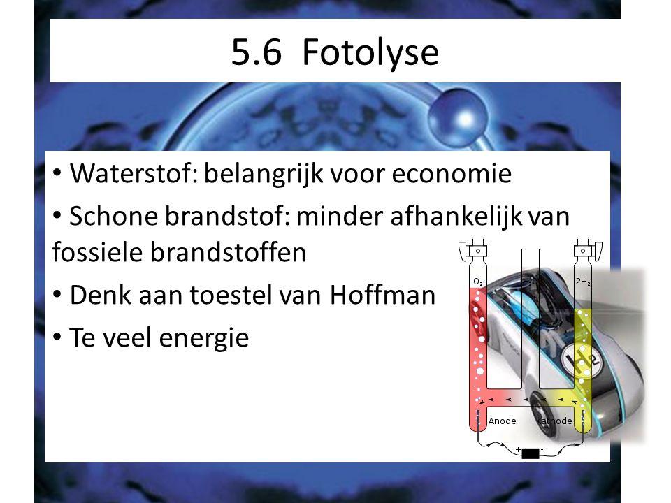 5.6 Fotolyse Waterstof: belangrijk voor economie