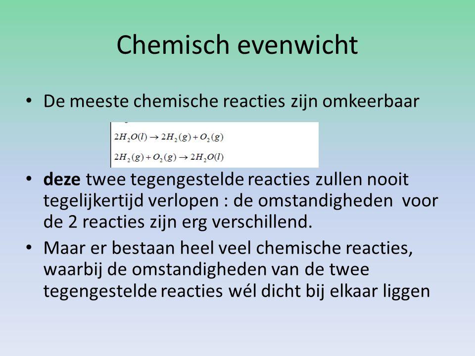 Chemisch evenwicht De meeste chemische reacties zijn omkeerbaar