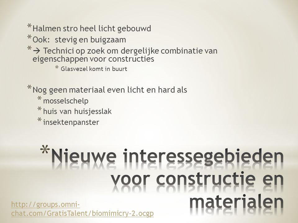Nieuwe interessegebieden voor constructie en materialen