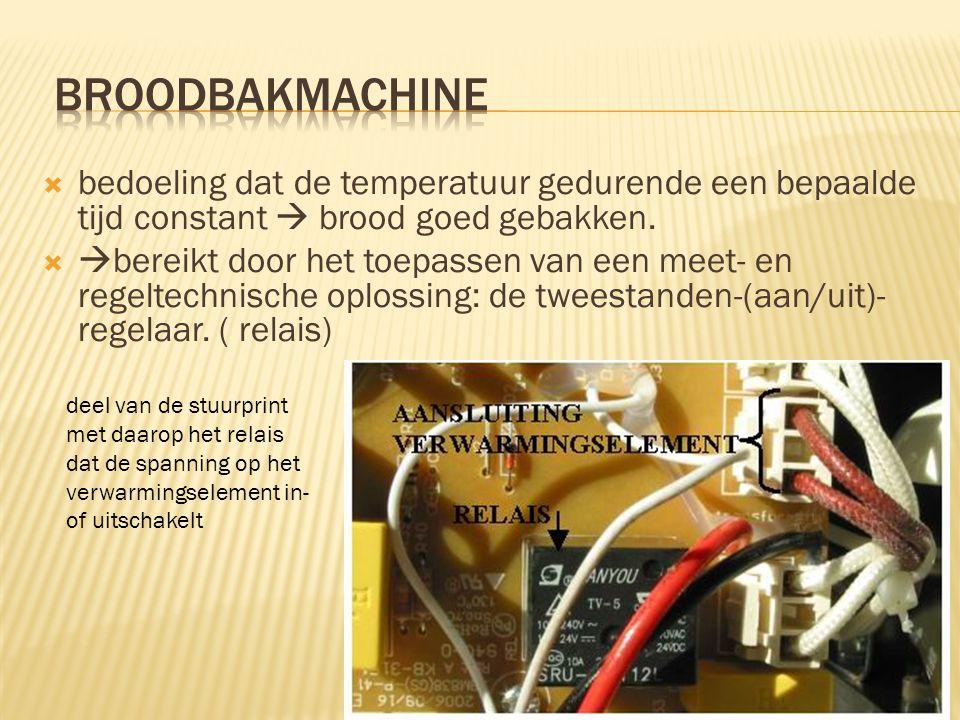 broodbakmachine bedoeling dat de temperatuur gedurende een bepaalde tijd constant  brood goed gebakken.
