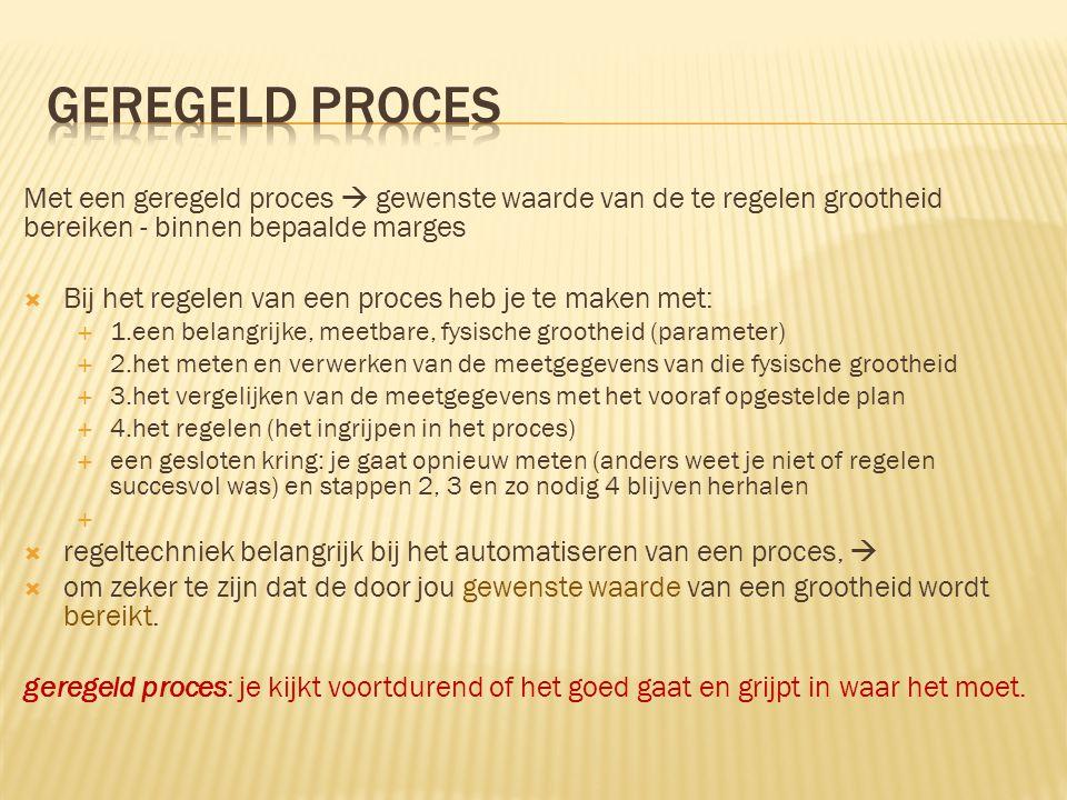 Geregeld proces Met een geregeld proces  gewenste waarde van de te regelen grootheid bereiken - binnen bepaalde marges
