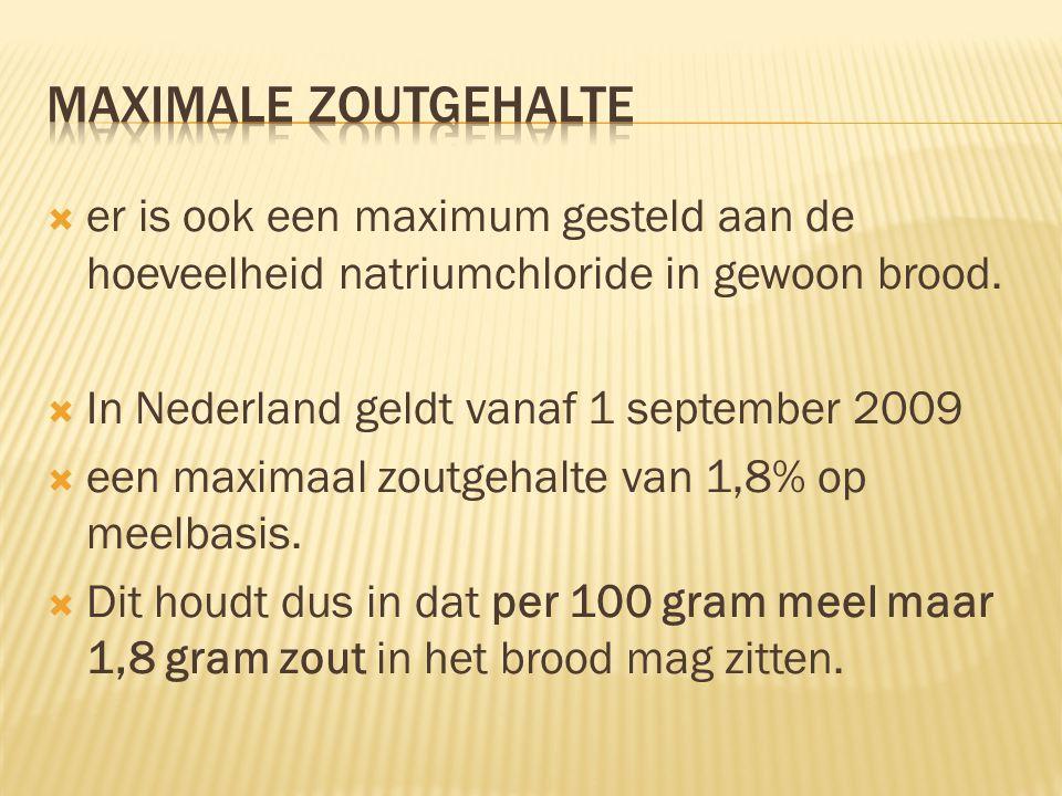 Maximale zoutgehalte er is ook een maximum gesteld aan de hoeveelheid natriumchloride in gewoon brood.