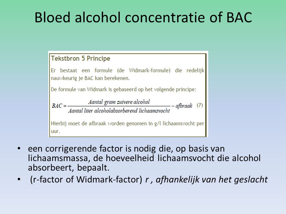 Bloed alcohol concentratie of BAC