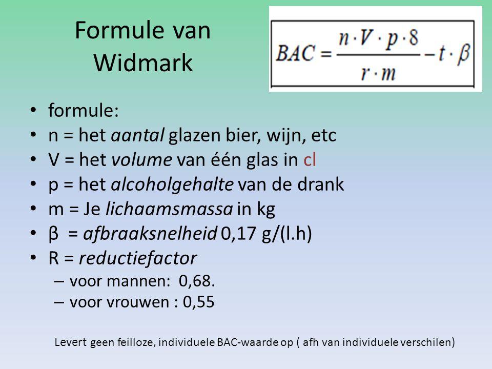 Formule van Widmark formule: n = het aantal glazen bier, wijn, etc