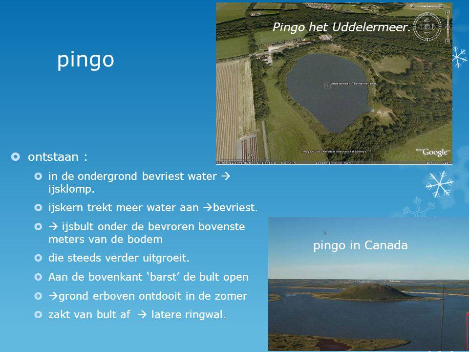 pingo Pingo het Uddelermeer. ontstaan : pingo in Canada