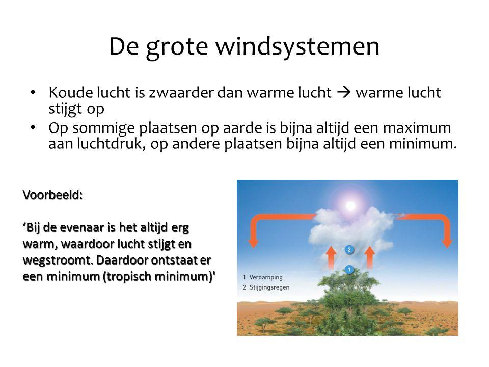 De grote windsystemen Koude lucht is zwaarder dan warme lucht  warme lucht stijgt op.