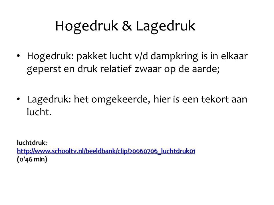Hogedruk & Lagedruk Hogedruk: pakket lucht v/d dampkring is in elkaar geperst en druk relatief zwaar op de aarde;