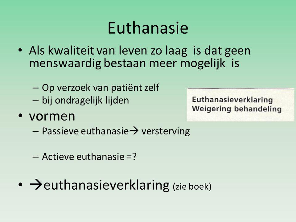 Euthanasie vormen euthanasieverklaring (zie boek)