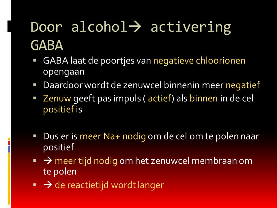 Door alcohol activering GABA