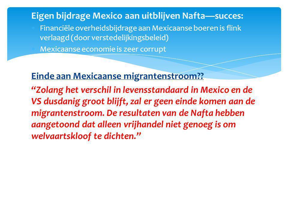 Eigen bijdrage Mexico aan uitblijven Nafta—succes: