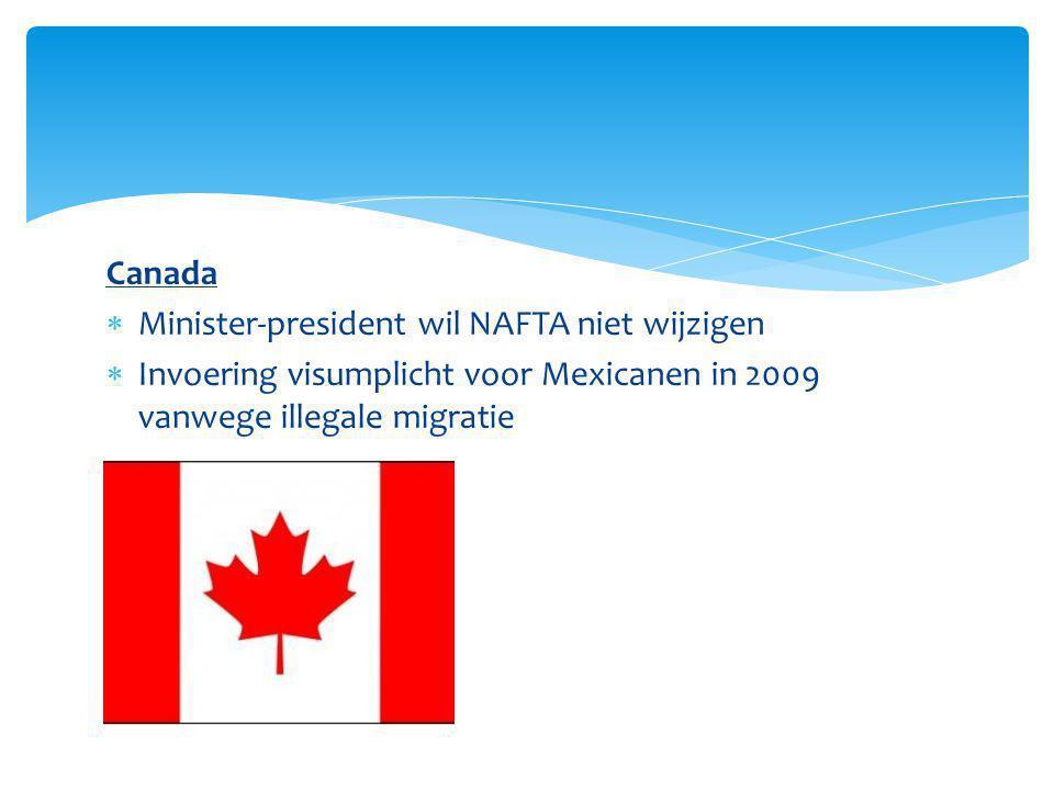 Canada Minister-president wil NAFTA niet wijzigen.
