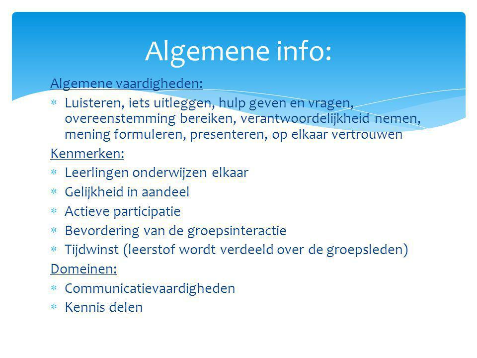 Algemene info: Algemene vaardigheden: