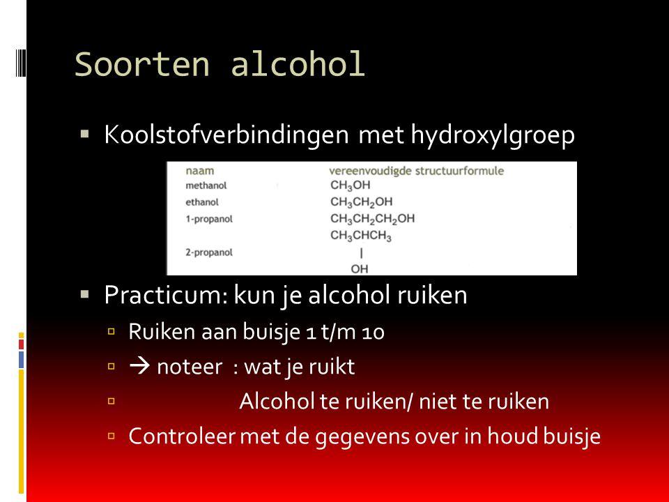 Soorten alcohol Koolstofverbindingen met hydroxylgroep