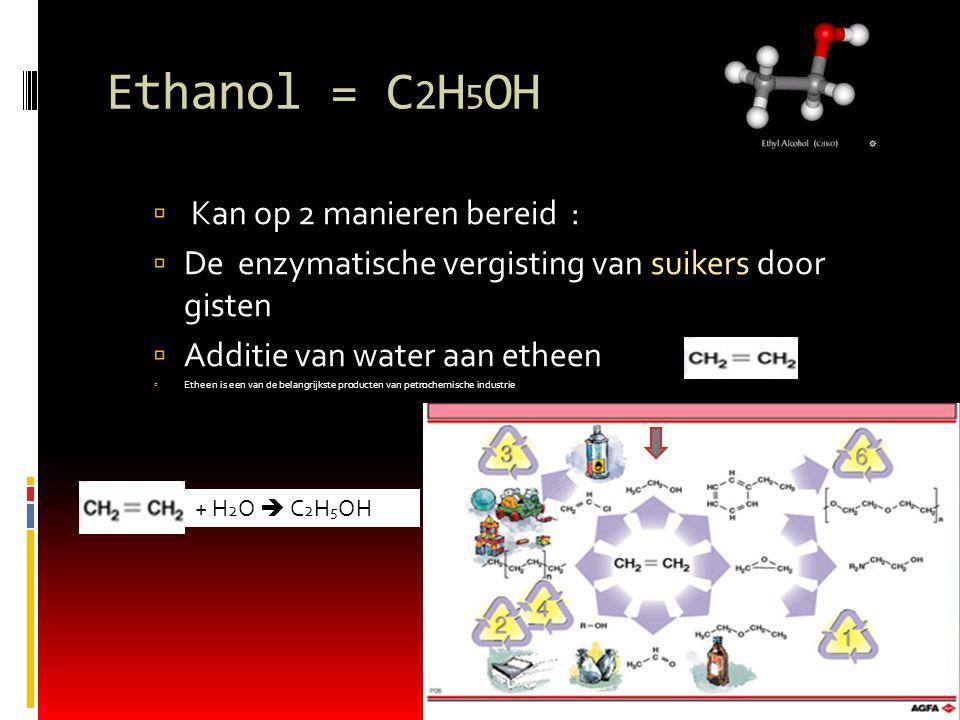 Ethanol = C2H5OH Kan op 2 manieren bereid :
