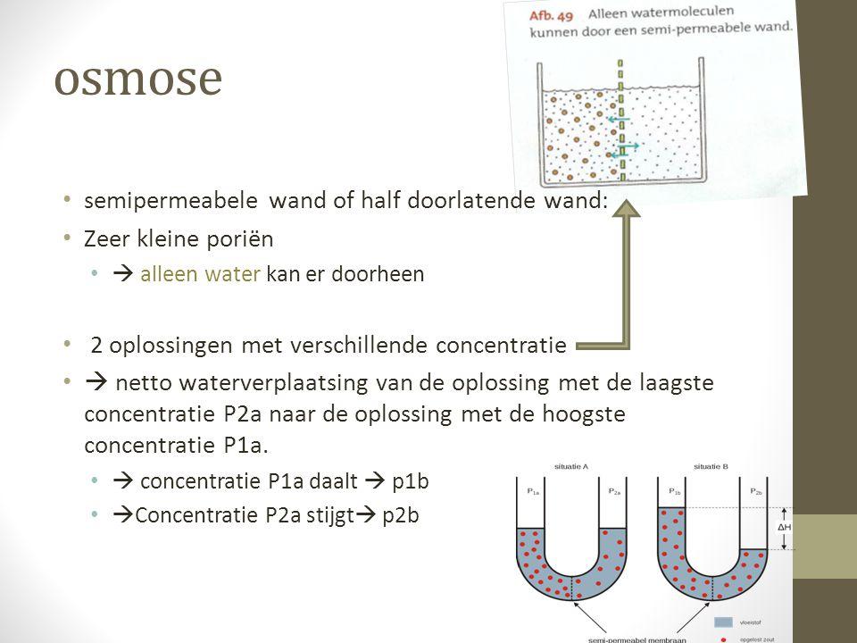 osmose semipermeabele wand of half doorlatende wand: