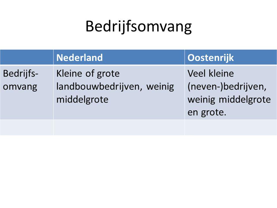 Bedrijfsomvang Nederland Oostenrijk Bedrijfs-omvang
