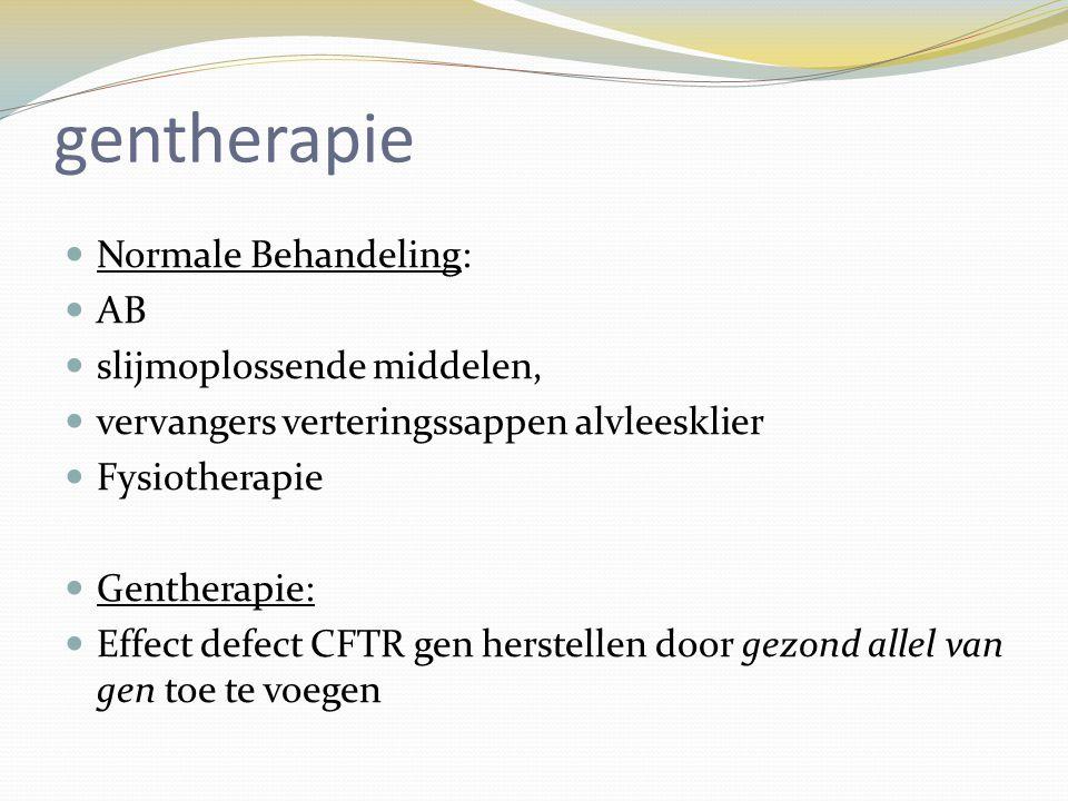 gentherapie Normale Behandeling: AB slijmoplossende middelen,