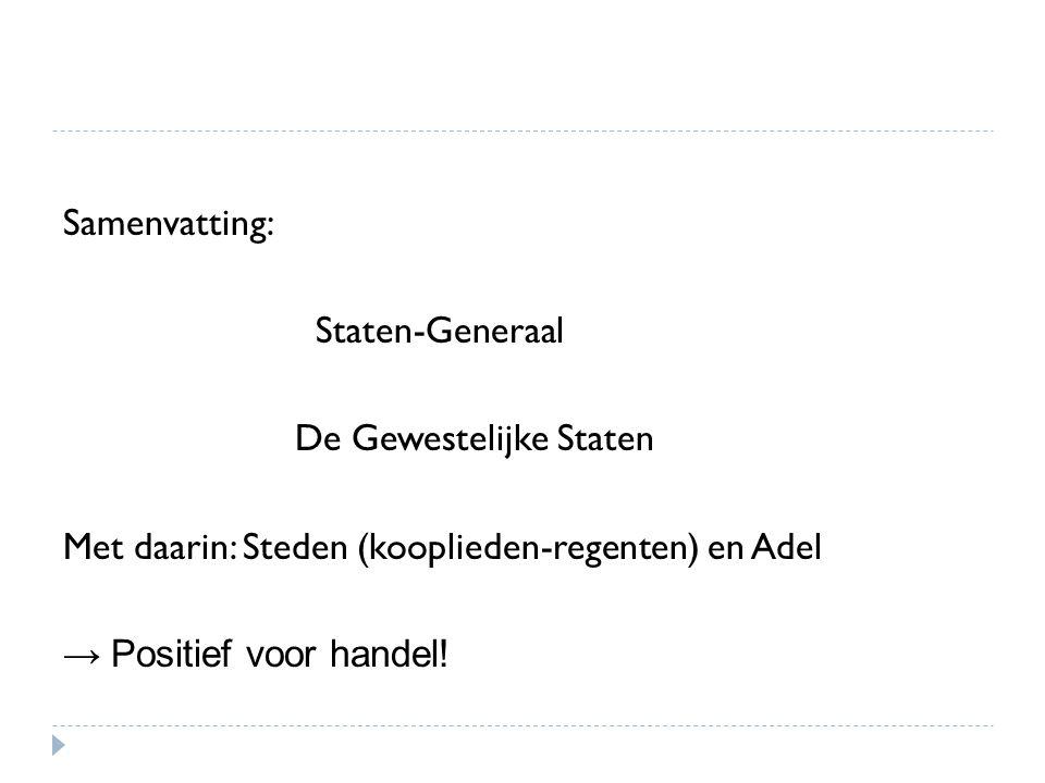 Samenvatting: Staten-Generaal. De Gewestelijke Staten. Met daarin: Steden (kooplieden-regenten) en Adel.