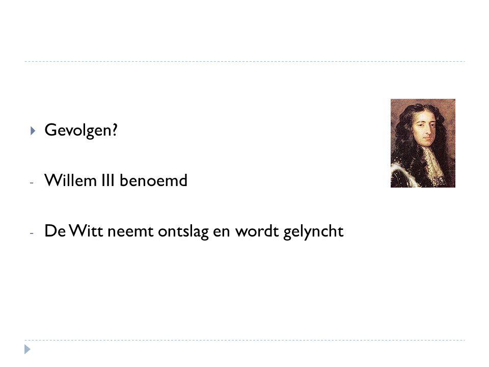 Gevolgen Willem III benoemd De Witt neemt ontslag en wordt gelyncht