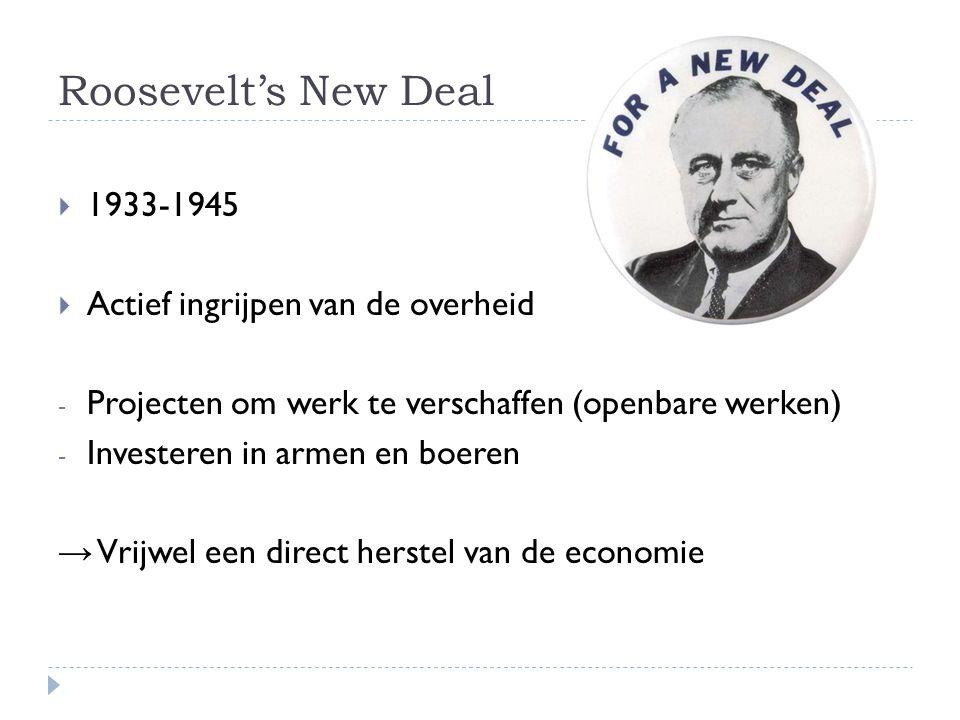Roosevelt's New Deal 1933-1945 Actief ingrijpen van de overheid