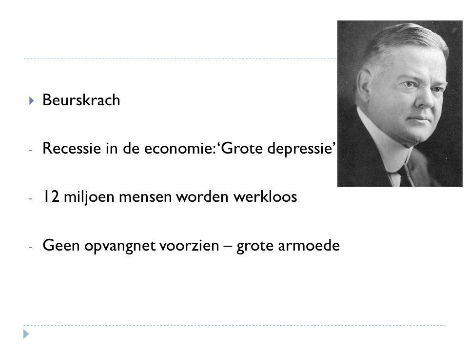 Beurskrach Recessie in de economie: 'Grote depressie' 12 miljoen mensen worden werkloos.