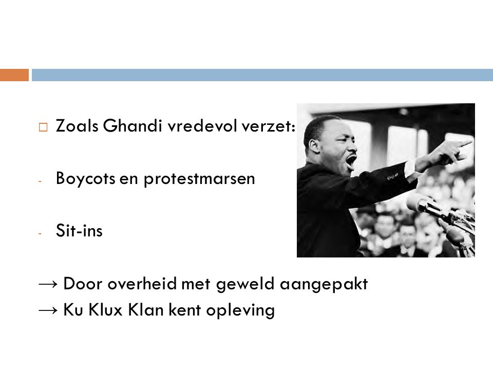 Zoals Ghandi vredevol verzet: