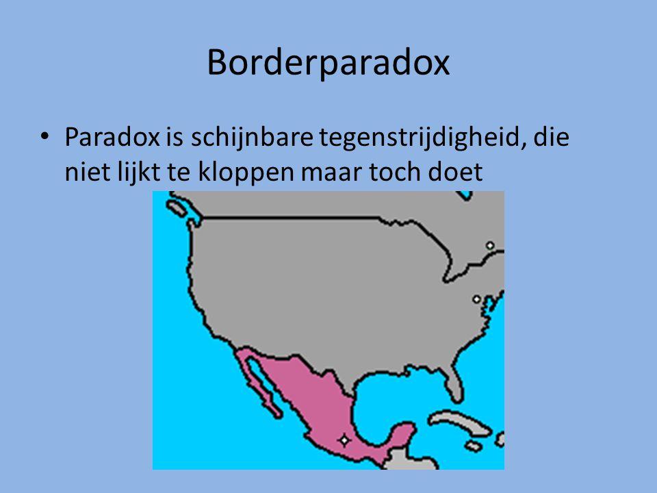 Borderparadox Paradox is schijnbare tegenstrijdigheid, die niet lijkt te kloppen maar toch doet