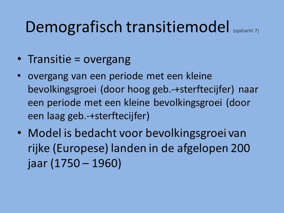 Demografisch transitiemodel (opdracht 7)